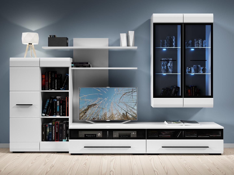 Living Room Furniture Set Tv Stand Glass Cabinet Unit