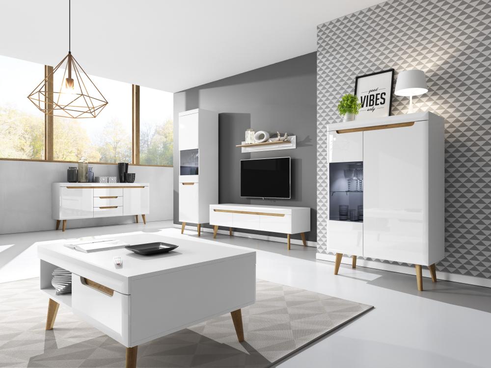 Details about Living room furniture set glass cabinet floating storage Tv  unit shelf white