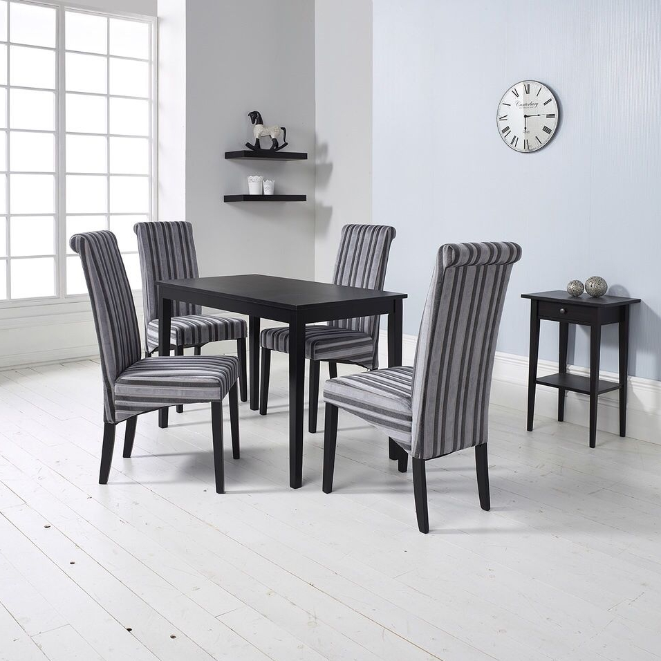 Grey Kitchen Dining Sets: Dining Set Table 4 Fabric Chairs Kitchen Living Room Black