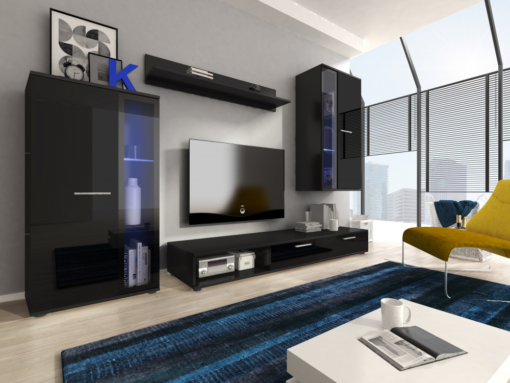 Details About Black High Gloss Living Room Set Furniture Wall Floor Display Unit Tv Cabinet