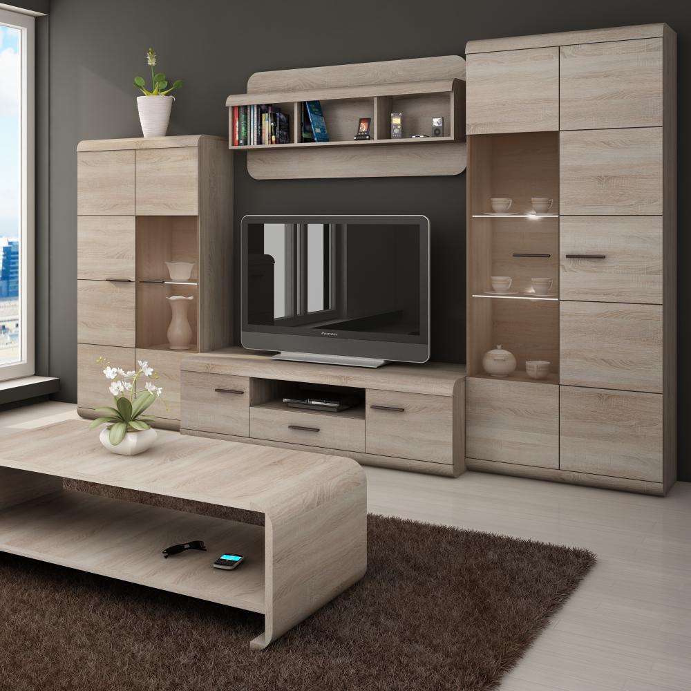 Details about Living room furniture set glass cabinet TV unit stand display  LED lights shelf