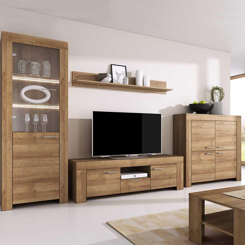 Details about Living room furniture set Tv hanging unit glass cabinet  cupboard LED riviera oak