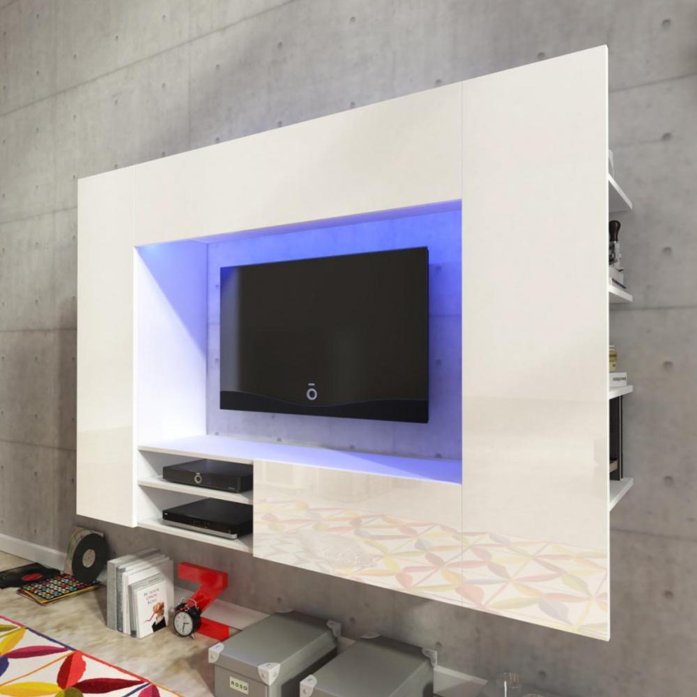 Details about Living room furniture set hanging unit floating Tv cabinet  white LED light